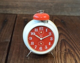 INSA Yugoslavia vintage Alarm Clock, mechanical clock, twin bell, Retro desk clock,white red  Working clock