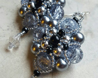 Black and Silver pearl with  crystal dangle earrings