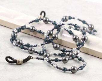 Coworker Gift Gray Eyeglass Lanyard Office Blue Beaded Lanyard Crystal Pearl Eyeglass Holder Sunglass Lanyard Pewter Eyeglass Necklace