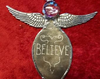 Spoon angel handmade angel folk art angel rustic angel Believe angel