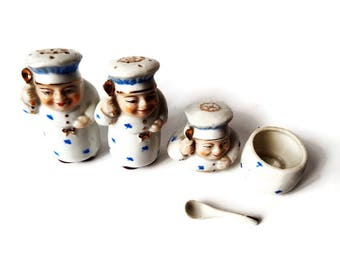 Vintage Salt Pepper and Mustard, Salt and Pepper French Chefs, French Cook Mustard Pot and Tiny Spoon