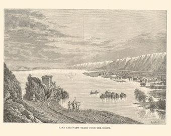 Lake Tali Knang Victoria Australia steel engraving Topograhical Print 1870 Wall Art Home Decor Vintage Print Antique print