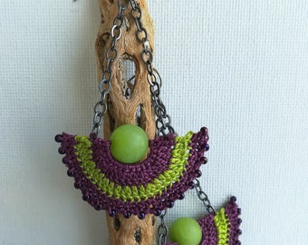 Crochet earrings - Lace Earrings - Crochet Beaded Earrings - Long dangle earrings - Girlfriend gift - Modern earrings - Purple and lime