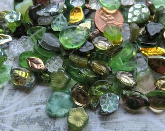 Green Goddess Czech Glass Flower and Leaf Mix, 24 Beads - Item 3414