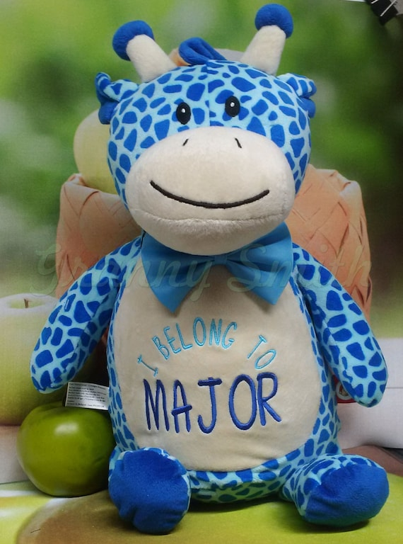 """Giraffe brown, blue or pink 12"""" birth announcement plush animal. Graduation, christening, child's name, Christmas, Easter, Holiday"""