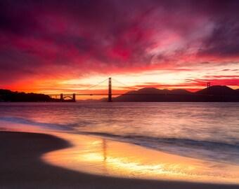 San Francisco Photograph of the Golden Gate Bridge at Sunset - Beautiful San Francisco Bay Photo for Home Decor Wall Art - California Print