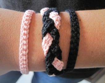 Crochet bracelets, three pieces. A perfect gift for girls and women.
