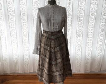 70s southwest skirt // Wool plaid midi skirt
