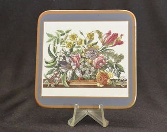 Vintage Pimpernel Coaster, Set of Six Coasters, Floral Array Pattern, Cork Backed Coasters, Made in England