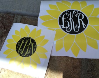 Sunflower Decal, Monogram, Car Decal, Laptop Decal, Vinyl Lettering, Yeti Cup Decal, Vine Font, Cup Decal