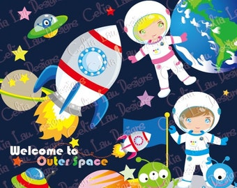 Outer Space Clipart, Astronauts clipart, UFO alien Astronaut Clipart for Personal and Commercial Use (CG009)/ Instant DOWNLOAD