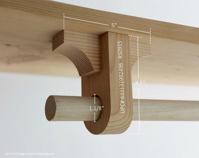 Hanging Wardrobe/Coat Rack. Add On Rod Support Bracket (RS0915) Handmade
