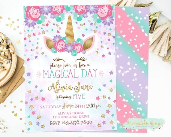 Unicorn birthday invite unicorn face birthday invitation stopboris Image collections
