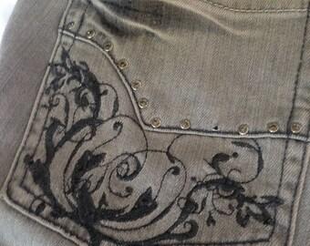 Vintage WHBM Blanc 8R Charcoal Grey with Rhinestone Details-Never Worn