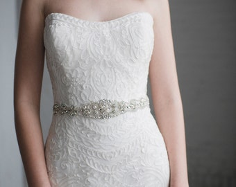 Pearl Bridal Sash | Rhinestone and Pearl Wedding Belt | Crystal Pearl Wedding Sash Belt | Pearl Bridesmaid Belt Sash | THE PENELOPE