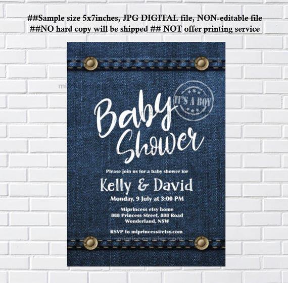 Denim invitation denim baby shower or bridal shower denim filmwisefo