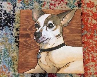 Custom Pet Portrait- wood burning, pet painting