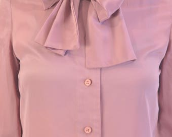 Satin old pink blouse vtg 1970s with bow collar