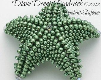 Beadwork Kit, Starfish Pendant in Seafoam Beads