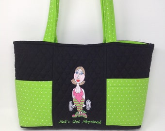 Quilted Exercise Theme Tote Bag