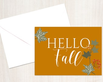 Happy fall card, grateful cards, fall greeting card, thanksgiving card, fall leaves card, autumn note cards, fall card set, printable fall