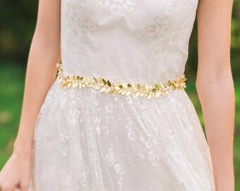 Gold Leaf Belt Gold Bridal Belt Gold Leaf Sash Bridal Sash Greek Goddess Bridal Belt Leaf Crown Grecian Belt Boho Belt Leaf Belt  #145