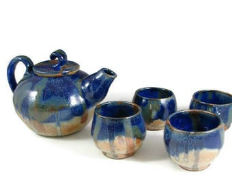Large Pottery Teapot Set / Handmade Ceramic Wheel Thrown Stoneware Clay Teapot and Tea cups / Ready to Ship