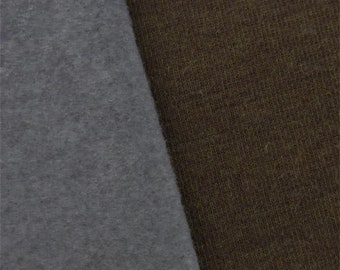 Coffee Brown/Gray Wool Blend Sweater Knit Fleece, Fabric By The Yard