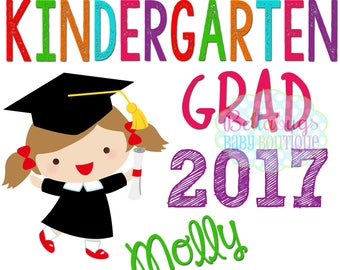 Kindergarten Grad Girl IRON ON TRANSFER - Personalized - School - Graduate