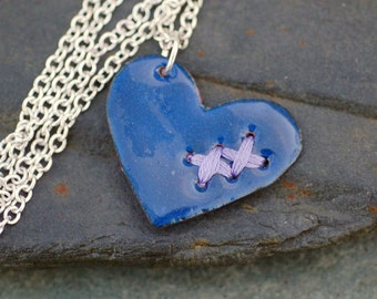 Valentine Jewelry Mended Broken Enamel Heart Pendant Necklace Copper Enameled Navy Blue