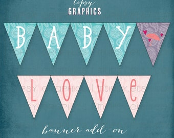 BABY LOVE Paisley Mum Printable Baby Shower BANNER by Tipsy Graphics.  Pink Purple Teal Turquoise Umbrella. Instant Download