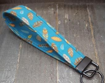 Flannel Key Fob, Feather Key Fob, Turquoise Key Fob, Flannel Wristlet, Feather Wristlet, Flannel Keychain, Flannel Feather Keychain