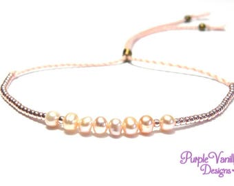 Pink Dainty Pearl Bracelet, Delicate Twisted Cotton Bracelet, Adjustable Minimalist Friendship Bracelet with Pink Freshwater Pearls