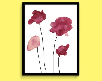 Four Fuschia/Red Watercolor Flowers Wall Art Print- 11x14 PDF Instant Download