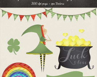 80% OFF SALE St Patricks Day Clipart Vector Pack - 7 St Patricks Design png & eps Vectors art - Shamrock Rainbow Irish St Patricks Clip Art