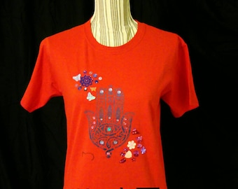 Red Hamsa design handpainted t-shirt. Ideal gift for her.