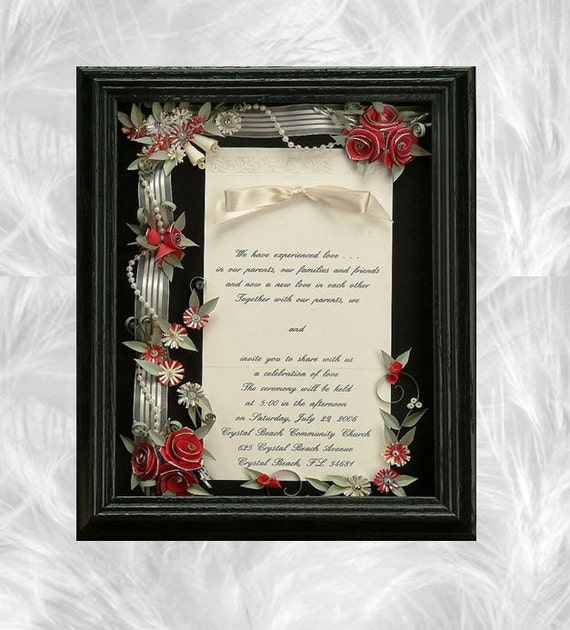 Wedding Invitation Gifts Ideas: Framed Wedding Invitation Wedding Shadow Box Wedding Gift