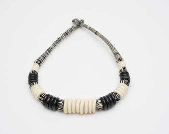 Black/White Woven & Beaded Necklace