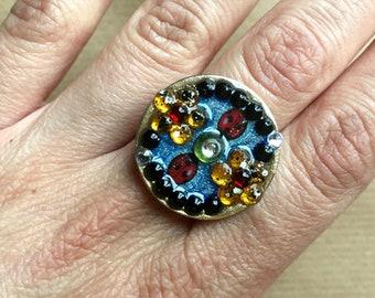 Ladybug and flowers ring