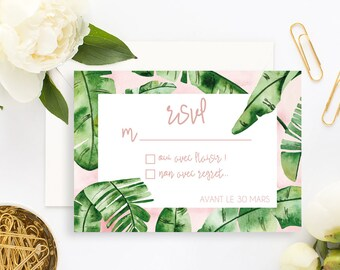 Tropical Wedding RSVP Card with white envelope - Wedding RSVP Card - Tropical Wedding - Banana Leaf Wedding Invitation - Tropical RSVP Card