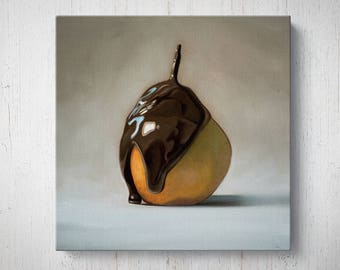 Chocolate Drizzled Pear - Fruit Oil Painting Giclee Gallery Mounted Canvas Wall Art Print