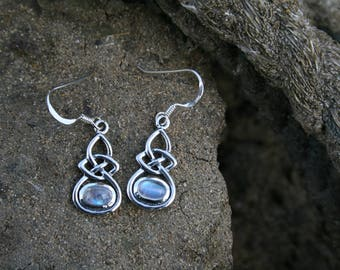 Celtic Knot Earrings With Moonstone