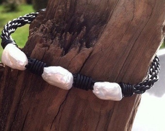 Freshwater Cultured Pearls and Leather Braided Bracelet