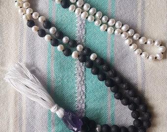 108 Bead Freshwater Pearl & Lava Rock Mala with Amethyst Guru Bead