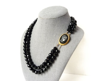 Black Beaded Necklace with Gold Cameo Clasp | Cameo Necklace | French Jet Jewelry | French Jet Necklace | Black Glass Beads | Gift for Her