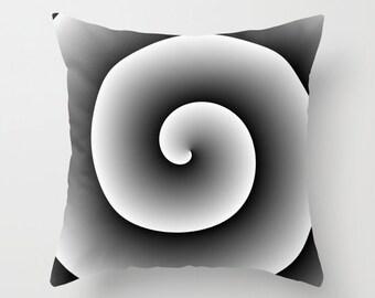Black White Spiral Throw Pillow, Decorative Pillow Cover, Black White Cushion, Hypnotic Design,Modern Decor,Unique Pillow,Contemporary Decor