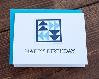 Happy Birthday. Quilt Letterpress Greeting Card