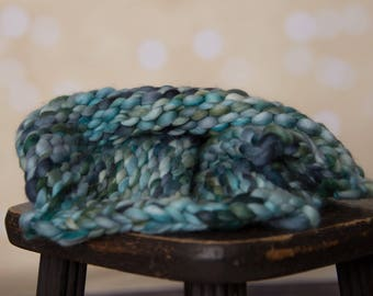Blue merino wool layering blanket