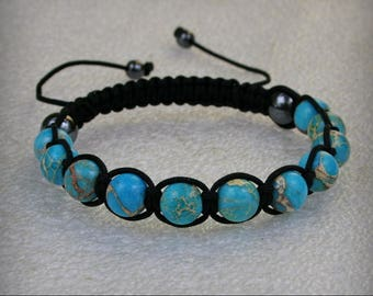 Beautiful handmade  Shamballa Bracelet with 10 mm Blue Sediment Jasper Gemstone Stone  Beads , Stone bracelet , Jasper Bracelet