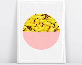 Banana Print, Tropical Fruit Wall Art, Kitchen Decor, Printable Large Poster, Digital Download, Pink and Yellow, Modern Minimalist